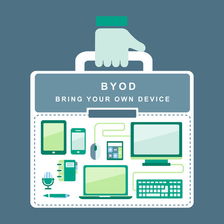 internet cloud: flat design concept of BYOD bring you own device
