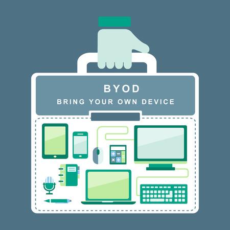 apporter: plat concept de BYOD vous apporter propre dispositif Illustration
