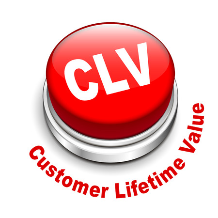 abbreviation: 3d illustration of clv customer lifetime value button isolated white background