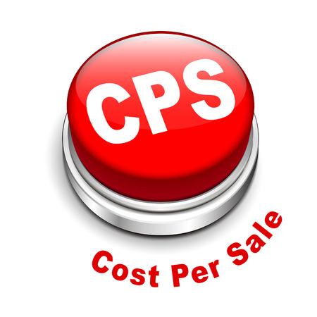 cpl: 3d illustration of cps cost per sale button isolated white background  Illustration