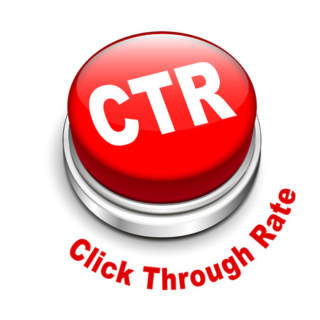 3d illustration of ctr click through rate button isolated white background  Vector