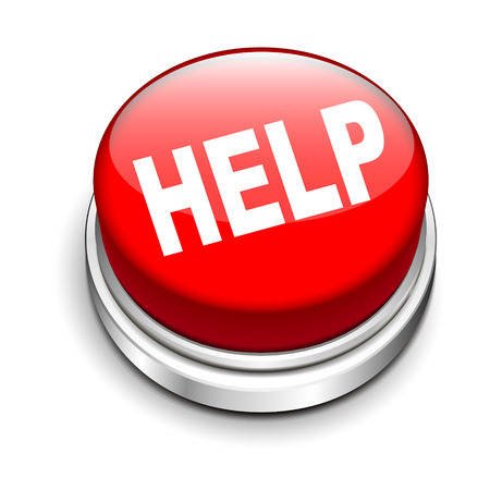 help button: 3d illustration of help button isolated white background