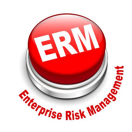 3d illustration of erm enterprise risk management button isolated white background