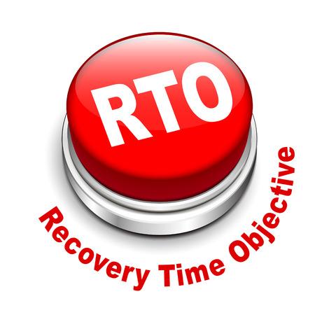 rto 目標復旧時間の 3 d イラストレーション ボタン分離ホワイト バック グラウンド