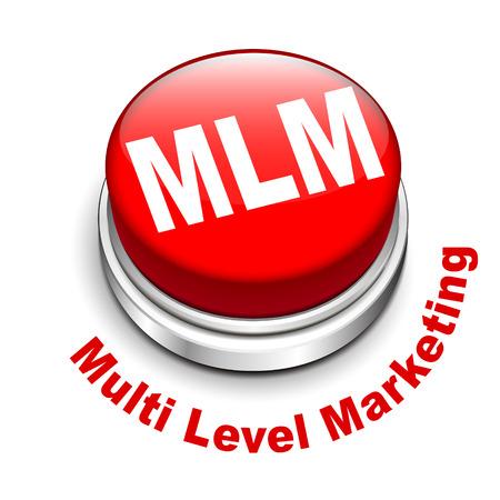 multi level: 3d illustration of MLM ( Multi Level Marketing) button isolated white background