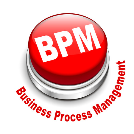 3d illustration of bpm business process management button isolated white background