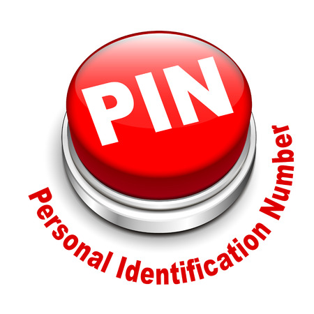 entry numbers: 3d illustration of PIN ( Personal identification number) button isolated white background Illustration