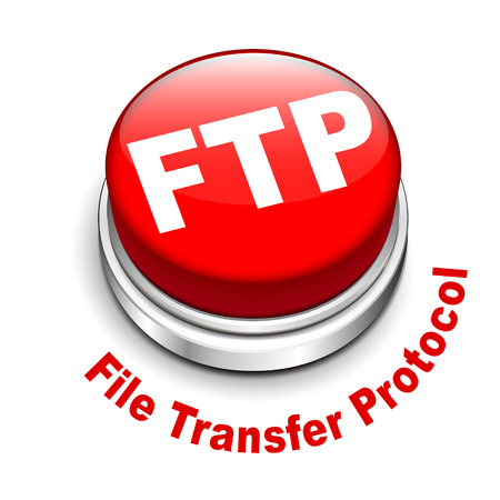 protocol: 3d illustration of FTP ( File transfer Protocol ) button isolated white background