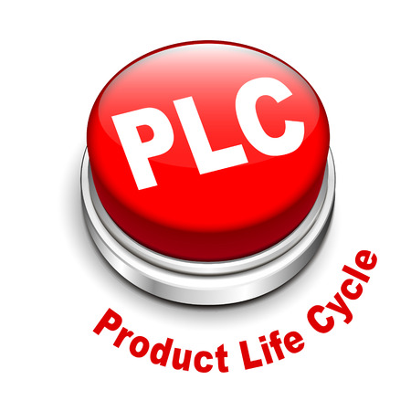 3d illustration of PLC   Product Life cycle   button isolated white background  Vector