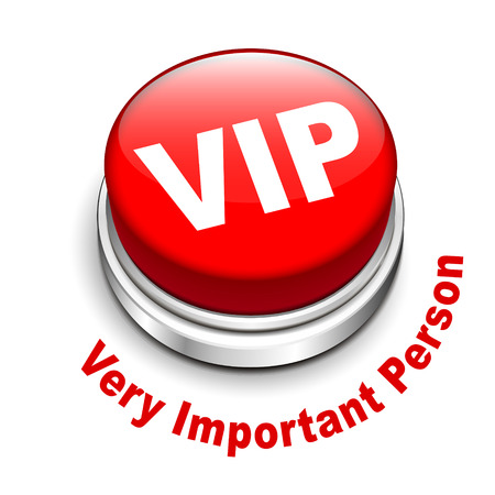 very important person: 3d illustration of vip   very important person   button isolated white background