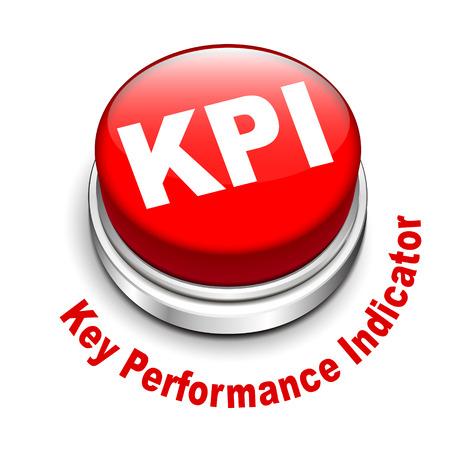 kpi: 3d illustration of KPI   Key Performance Indicator   button isolated white background
