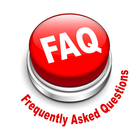 general knowledge: 3d illustration of faq  frequently asked questions  button isolated white background