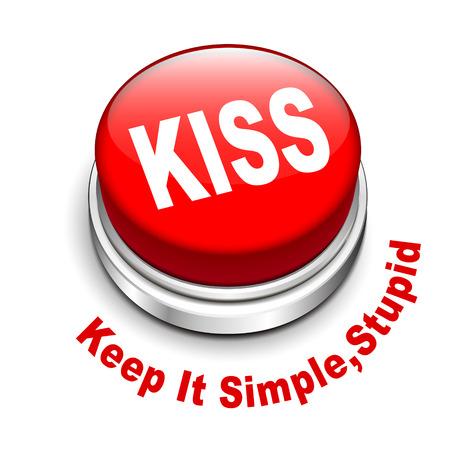 sophistication: 3d ilustraci�n del principio KISS Keep It Simple bot�n, est�pido aislado fondo blanco