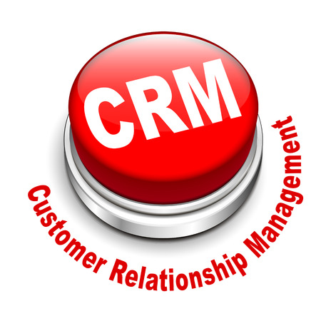 3d illustration of crm Customer Relationship Management button isolated white background