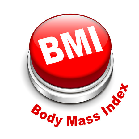 fatness: 3d illustration of BMI   Body Mass Index  button isolated white background