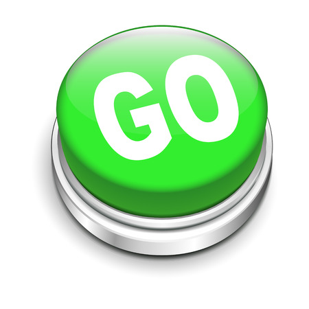 save button: 3d illustration of go button isolated white background