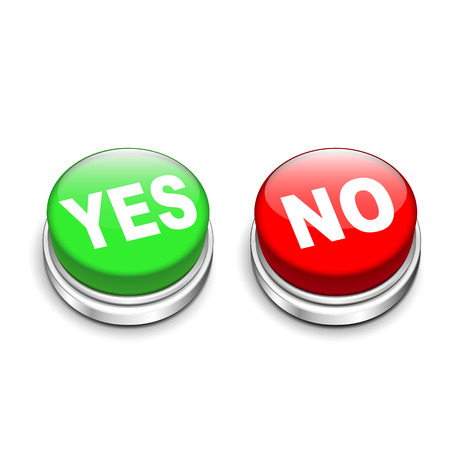 approval button: 3d illustration of yes and no buttons isolated white background Illustration