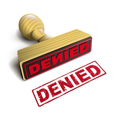 denied: sello negado con el texto en rojo sobre fondo blanco