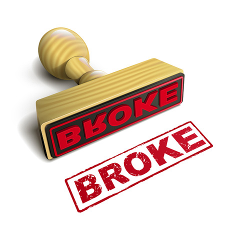 broke: stamp broke with red text over white background