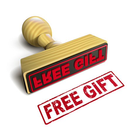 free gift: stamp free gift with red text over white background