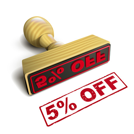 selling off: stamp 5% off with red text over white background