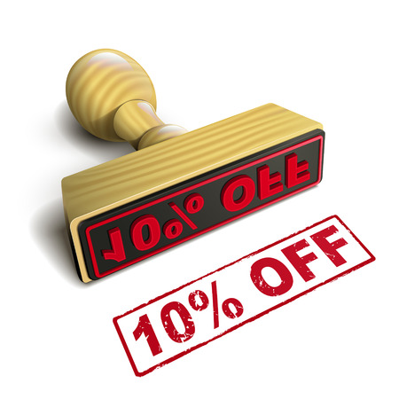 stamp 10% off with red text over white background Vector
