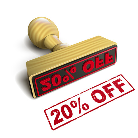 selling off: stamp 20% off with red text over white background