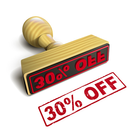 30: stamp 30% off with red text over white background