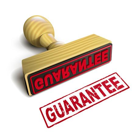 garantía de sello con el texto en rojo sobre fondo blanco