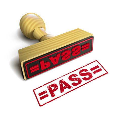 stamp pass with red text over white background Vector