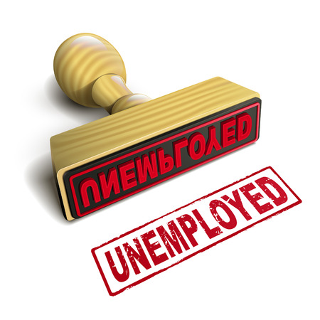 unemployed: stamp unemployed with red text over white background
