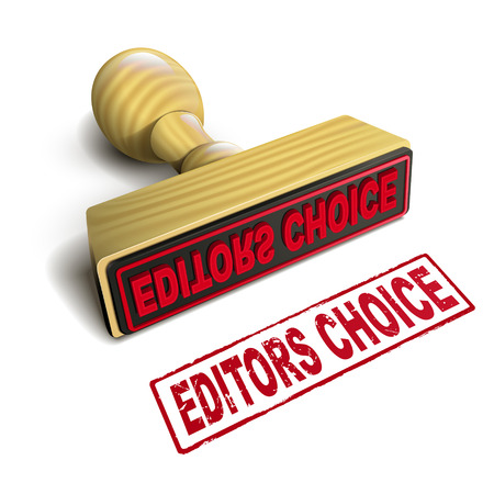 stamp editors choice with red text over white background Vector