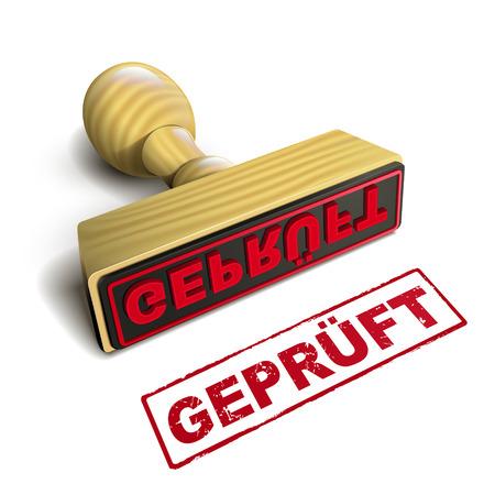 """proved: timbrare con il rosso tedesco gepr�ft testo su sfondo bianco, tradurre """"dimostrato"""""""