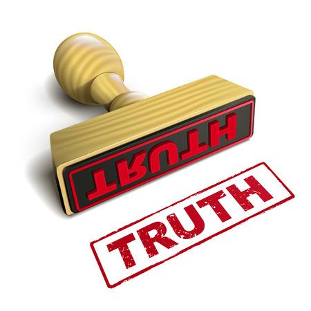 znaczek z czerwonym tekstem prawdy nad białym tle