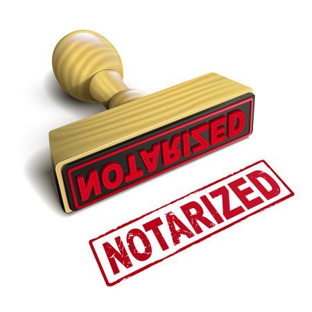 stempel notariële met rode tekst op een witte achtergrond