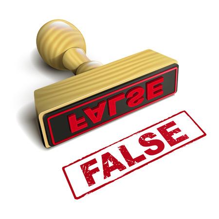 falso: estampar falsa con el texto en rojo sobre fondo blanco