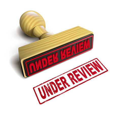 validation: stamp under review with red text over white background Illustration