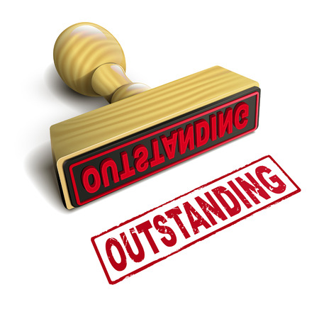 outstanding: stamp outstanding with red text over white background