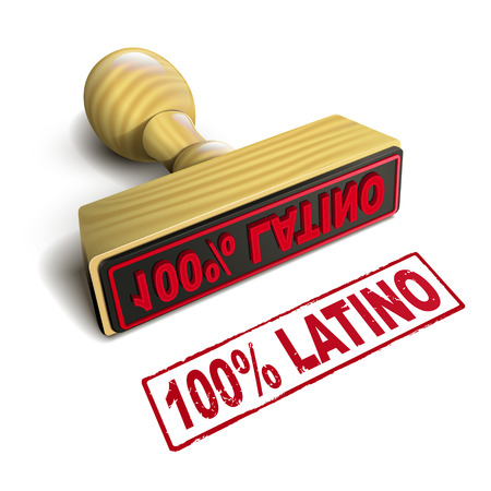 latina: stamp 100% latino with red text over white background Illustration