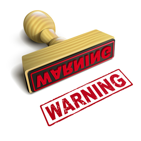 stamp warning with red text over white background Vector