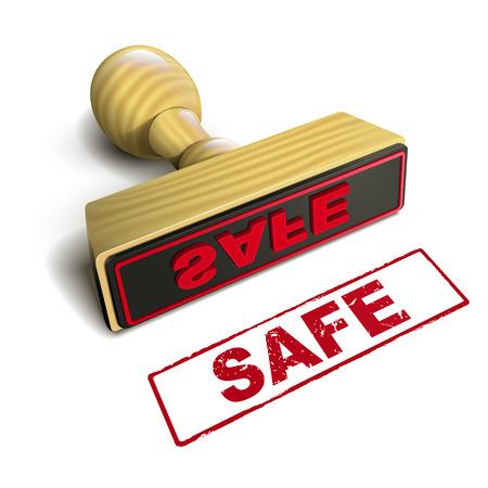 Stempel Safe mit roten Text auf weißem Hintergrund