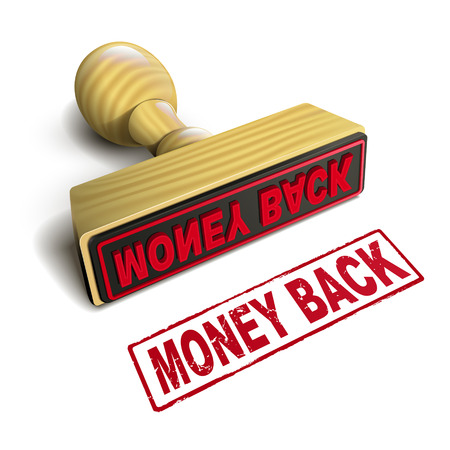 stamp money back with red text over white background Vector