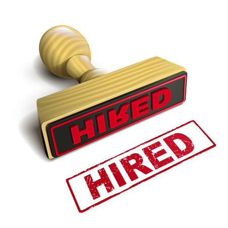 hired: stamp hired with red text over white background Illustration