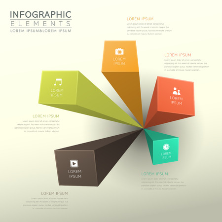 paper tag: modern vector abstract bar chart infographic elements Illustration