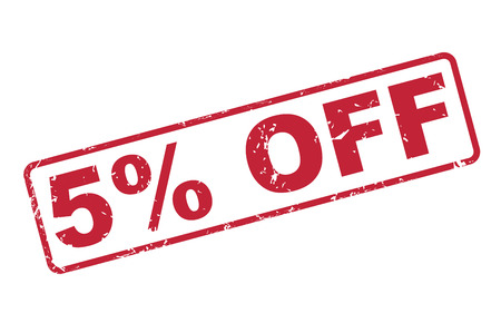 selling off: stamp 5 percent off with red text over white background Illustration