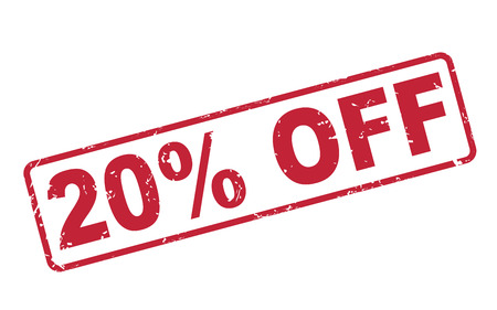 stamp 20 percent off with red text over white background