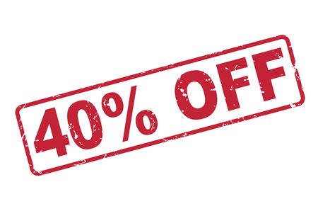 selling off: stamp 40 percent off with red text over white background