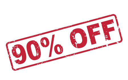 90: stamp 90 percent off with red text over white background