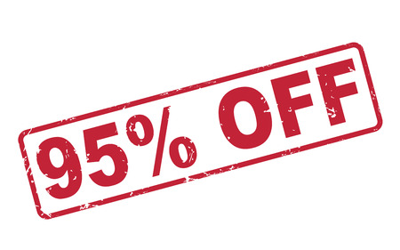95: stamp 95 percent off with red text over white background