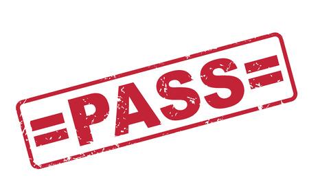 assured: pase sello con el texto rojo sobre fondo blanco